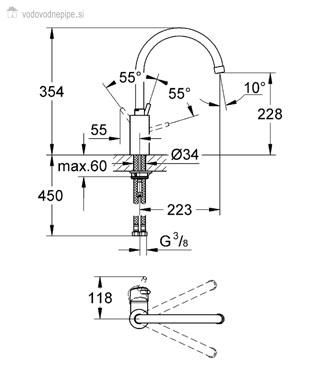 GROHE 32661001 Concetto Enoročna armatura za pomivalno korito tehnična risba
