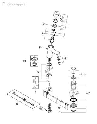 Grohe Concetto 32204001 - Enoročna kopalniška armatura za umivalnik seznam delov