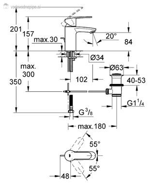 Grohe Eurostyle Cosmopolitan 33552002 - Enoročna kopalniška armatura za umivalnik tehnična risba