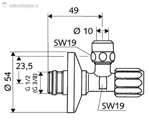 Schell Comfort 49490699 - kotni ventil s filtrom tehnična risba