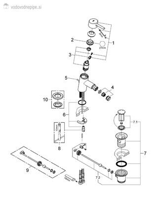 Grohe Concetto 32208001 - Enoročna kopalniška armatura za bide seznam delov