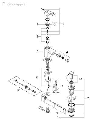 Grohe Eurocube 23138000 - Enoročna kopalniška armatura za bide seznam delov