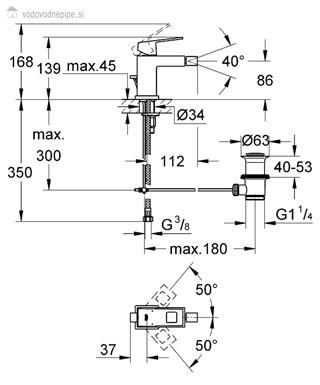Grohe Eurocube 23138000 - Enoročna kopalniška armatura za bide tehnična risba