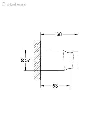 Grohe New Tempesta Cosmopolitan 27594000 - Stensko držalo za ročno prho tehnična risba