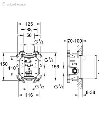 Grohe Rapido E 35501000 - Univerzalna enoročna mešalna baterija za podometno vgradnjo tehnična risba
